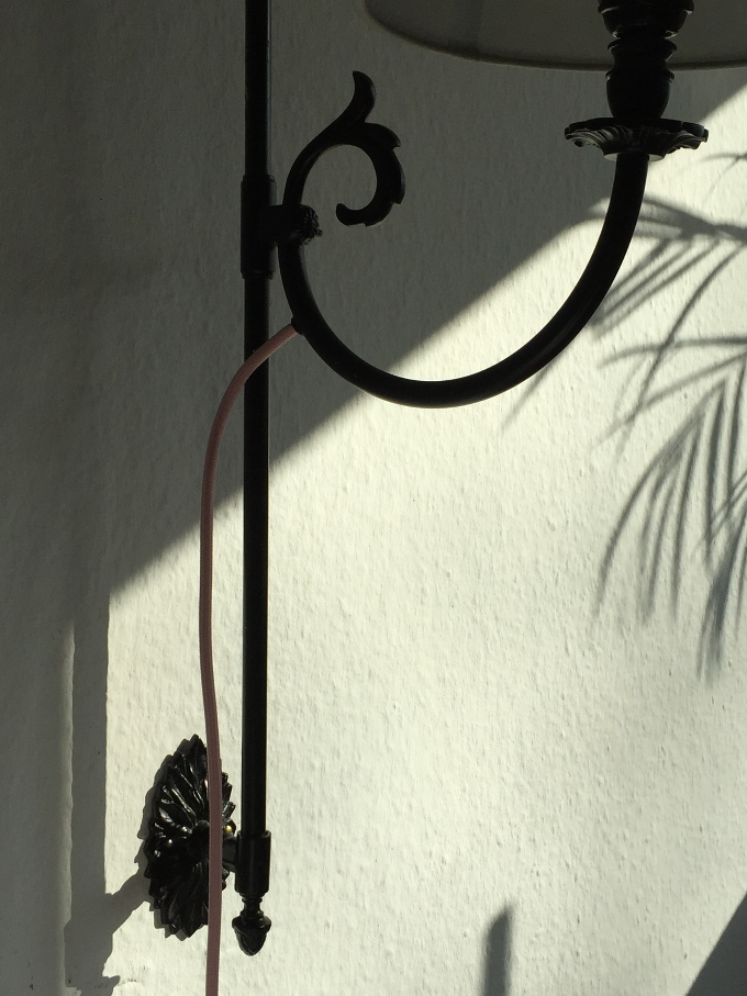 Wandlampe Textilkabel nah