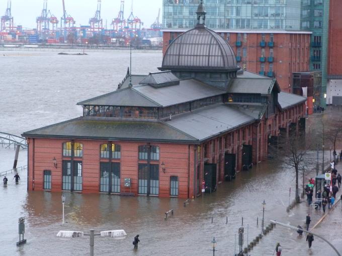 Fischauktionshalle Hochwasser Januar 2015