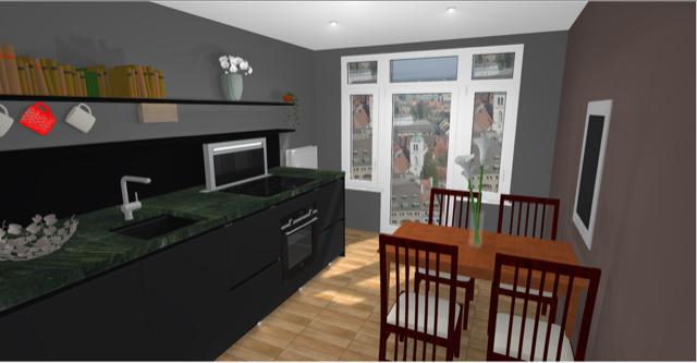 Hier Seht Ihr Das 3D Bild Meiner Zukünftigen Küche. Die Küche Bekommt Matte  Schwarze Fronten Und Eine Grünliche Granitplatte. Passend Dazu Habe Ich Mir  ...